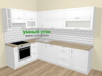 Угловая кухня МДФ матовый  в скандинавском стиле 7,2 м², 170 на 270 см, Белый, верхние модули 72 см, посудомоечная машина, встроенный духовой шкаф
