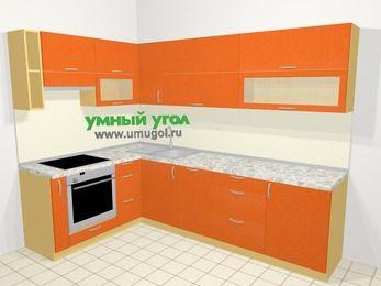 Угловая кухня МДФ металлик в современном стиле 7,2 м², 170 на 270 см, Оранжевый металлик, верхние модули 72 см, посудомоечная машина, встроенный духовой шкаф