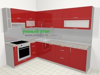 Угловая кухня МДФ глянец в современном стиле 7,2 м², 170 на 270 см, Красный, верхние модули 72 см, посудомоечная машина, встроенный духовой шкаф