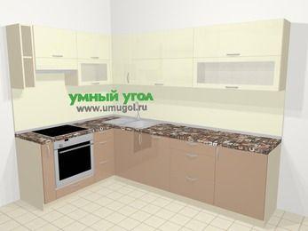 Угловая кухня МДФ глянец в современном стиле 7,2 м², 170 на 270 см, Жасмин / Капучино, верхние модули 72 см, посудомоечная машина, встроенный духовой шкаф