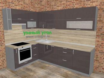 Угловая кухня МДФ глянец в стиле лофт 7,2 м², 170 на 270 см, Шоколад, верхние модули 72 см, посудомоечная машина, встроенный духовой шкаф