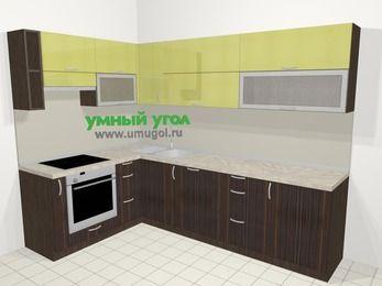 Кухни пластиковые угловые в современном стиле 7,2 м², 170 на 270 см, Желтый Галлион глянец / Дерево Мокка, верхние модули 72 см, посудомоечная машина, встроенный духовой шкаф