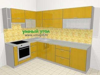 Кухни пластиковые угловые в современном стиле 7,2 м², 170 на 270 см, Желтый глянец, верхние модули 72 см, посудомоечная машина, встроенный духовой шкаф