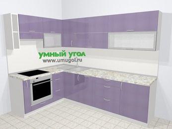 Кухни пластиковые угловые в современном стиле 7,2 м², 170 на 270 см, Сиреневый глянец, верхние модули 72 см, посудомоечная машина, встроенный духовой шкаф