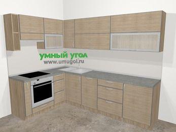 Кухни пластиковые угловые в стиле лофт 7,2 м², 170 на 270 см, Чибли бежевый, верхние модули 72 см, посудомоечная машина, встроенный духовой шкаф