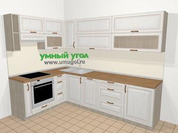 Угловая кухня МДФ патина в классическом стиле 7,2 м², 170 на 270 см, Лиственница белая, верхние модули 72 см, посудомоечная машина, встроенный духовой шкаф