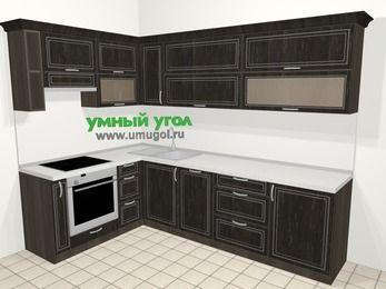 Угловая кухня МДФ патина в классическом стиле 7,2 м², 170 на 270 см, Венге, верхние модули 72 см, посудомоечная машина, встроенный духовой шкаф