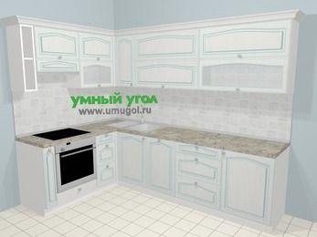 Угловая кухня МДФ патина в стиле прованс 7,2 м², 170 на 270 см, Лиственница белая, верхние модули 72 см, посудомоечная машина, встроенный духовой шкаф