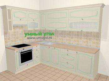 Угловая кухня МДФ патина в стиле прованс 7,2 м², 170 на 270 см, Керамик, верхние модули 72 см, посудомоечная машина, встроенный духовой шкаф