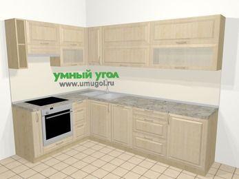 Угловая кухня из массива дерева в классическом стиле 7,2 м², 170 на 270 см, Светло-коричневые оттенки, верхние модули 72 см, посудомоечная машина, встроенный духовой шкаф