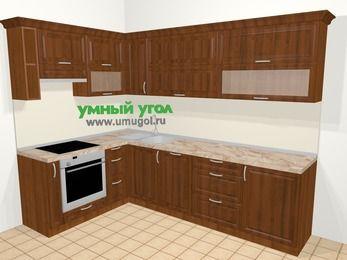 Угловая кухня из массива дерева в классическом стиле 7,2 м², 170 на 270 см, Темно-коричневые оттенки, верхние модули 72 см, посудомоечная машина, встроенный духовой шкаф