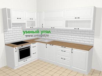 Угловая кухня из массива дерева в скандинавском стиле 7,2 м², 170 на 270 см, Белые оттенки, верхние модули 72 см, посудомоечная машина, встроенный духовой шкаф
