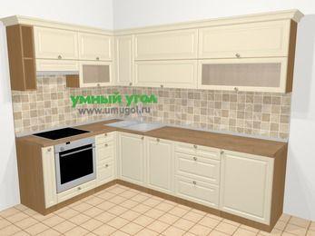 Угловая кухня из массива дерева в стиле кантри 7,2 м², 170 на 270 см, Бежевые оттенки, верхние модули 72 см, посудомоечная машина, встроенный духовой шкаф