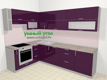 Угловая кухня МДФ глянец в современном стиле 7,2 м², 170 на 270 см, Баклажан, верхние модули 72 см, посудомоечная машина, встроенный духовой шкаф