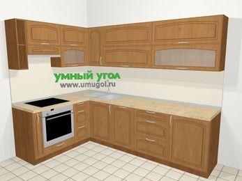 Угловая кухня МДФ патина в классическом стиле 7,2 м², 170 на 270 см, Ольха, верхние модули 72 см, посудомоечная машина, встроенный духовой шкаф