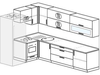 Угловая кухня 7,2 м² (1,7✕2,7 м), верхние модули 72 см, встроенный духовой шкаф, холодильник
