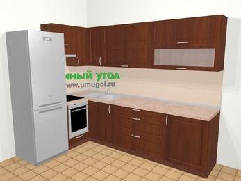 Угловая кухня МДФ матовый в классическом стиле 7,2 м², 170 на 270 см, Вишня темная, верхние модули 72 см, встроенный духовой шкаф, холодильник
