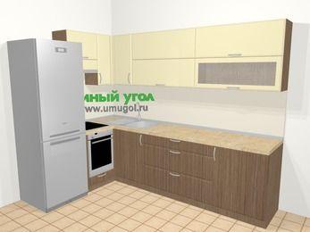 Угловая кухня МДФ матовый в современном стиле 7,2 м², 170 на 270 см, Ваниль / Лиственница бронзовая, верхние модули 72 см, встроенный духовой шкаф, холодильник
