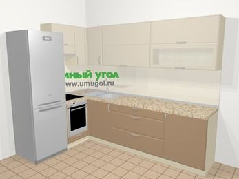 Угловая кухня МДФ матовый в современном стиле 7,2 м², 170 на 270 см, Керамик / Кофе, верхние модули 72 см, встроенный духовой шкаф, холодильник