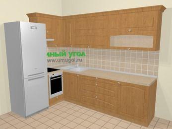 Угловая кухня МДФ матовый в стиле кантри 7,2 м², 170 на 270 см, Ольха, верхние модули 72 см, встроенный духовой шкаф, холодильник