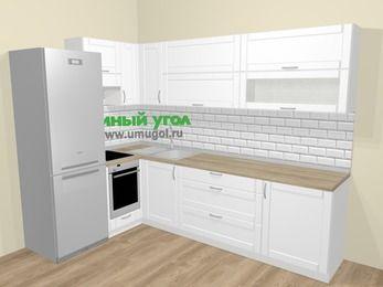 Угловая кухня МДФ матовый  в скандинавском стиле 7,2 м², 170 на 270 см, Белый, верхние модули 72 см, встроенный духовой шкаф, холодильник