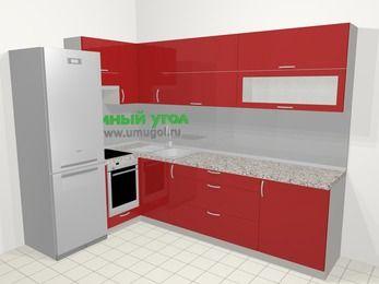 Угловая кухня МДФ глянец в современном стиле 7,2 м², 170 на 270 см, Красный, верхние модули 72 см, встроенный духовой шкаф, холодильник