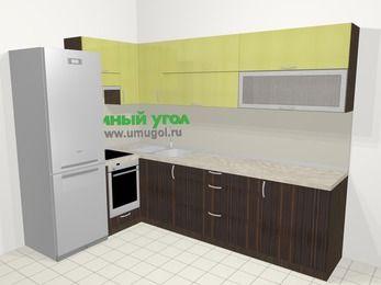 Кухни пластиковые угловые в современном стиле 7,2 м², 170 на 270 см, Желтый Галлион глянец / Дерево Мокка, верхние модули 72 см, встроенный духовой шкаф, холодильник