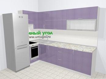 Кухни пластиковые угловые в современном стиле 7,2 м², 170 на 270 см, Сиреневый глянец, верхние модули 72 см, встроенный духовой шкаф, холодильник