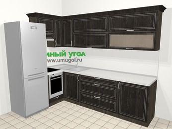 Угловая кухня МДФ патина в классическом стиле 7,2 м², 170 на 270 см, Венге, верхние модули 72 см, встроенный духовой шкаф, холодильник
