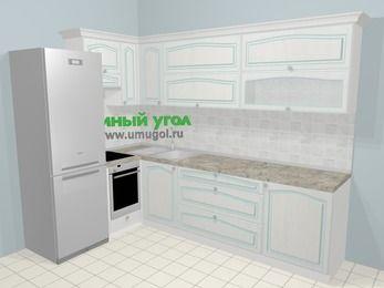 Угловая кухня МДФ патина в стиле прованс 7,2 м², 170 на 270 см, Лиственница белая, верхние модули 72 см, встроенный духовой шкаф, холодильник