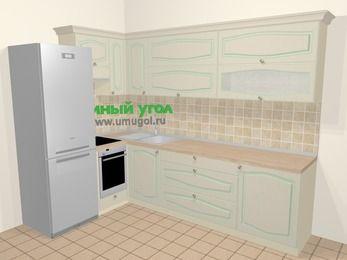 Угловая кухня МДФ патина в стиле прованс 7,2 м², 170 на 270 см, Керамик, верхние модули 72 см, встроенный духовой шкаф, холодильник