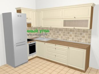 Угловая кухня из массива дерева в стиле кантри 7,2 м², 170 на 270 см, Бежевые оттенки, верхние модули 72 см, встроенный духовой шкаф, холодильник