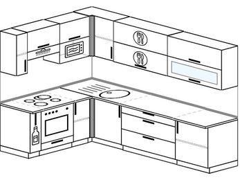 Угловая кухня 7,2 м² (1,7✕2,7 м), верхние модули 72 см, верхний модуль под свч, встроенный духовой шкаф