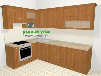 Угловая кухня МДФ матовый в классическом стиле 7,2 м², 170 на 270 см, Вишня, верхние модули 72 см, верхний модуль под свч, встроенный духовой шкаф