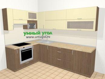 Угловая кухня МДФ матовый в современном стиле 7,2 м², 170 на 270 см, Ваниль / Лиственница бронзовая, верхние модули 72 см, верхний модуль под свч, встроенный духовой шкаф