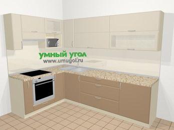 Угловая кухня МДФ матовый в современном стиле 7,2 м², 170 на 270 см, Керамик / Кофе, верхние модули 72 см, верхний модуль под свч, встроенный духовой шкаф