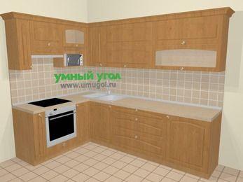 Угловая кухня МДФ матовый в стиле кантри 7,2 м², 170 на 270 см, Ольха, верхние модули 72 см, верхний модуль под свч, встроенный духовой шкаф