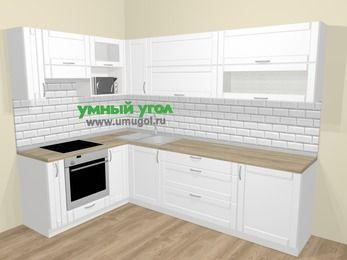 Угловая кухня МДФ матовый  в скандинавском стиле 7,2 м², 170 на 270 см, Белый, верхние модули 72 см, верхний модуль под свч, встроенный духовой шкаф
