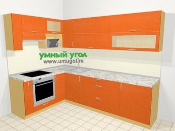 Угловая кухня МДФ металлик в современном стиле 7,2 м², 170 на 270 см, Оранжевый металлик, верхние модули 72 см, верхний модуль под свч, встроенный духовой шкаф
