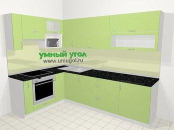 Угловая кухня МДФ металлик в современном стиле 7,2 м², 170 на 270 см, Салатовый металлик, верхние модули 72 см, верхний модуль под свч, встроенный духовой шкаф