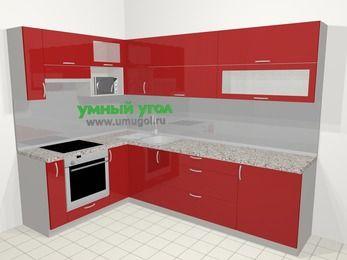 Угловая кухня МДФ глянец в современном стиле 7,2 м², 170 на 270 см, Красный, верхние модули 72 см, верхний модуль под свч, встроенный духовой шкаф