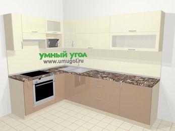 Угловая кухня МДФ глянец в современном стиле 7,2 м², 170 на 270 см, Жасмин / Капучино, верхние модули 72 см, верхний модуль под свч, встроенный духовой шкаф
