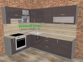 Угловая кухня МДФ глянец в стиле лофт 7,2 м², 170 на 270 см, Шоколад, верхние модули 72 см, верхний модуль под свч, встроенный духовой шкаф