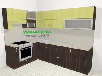 Кухни пластиковые угловые в современном стиле 7,2 м², 170 на 270 см, Желтый Галлион глянец / Дерево Мокка, верхние модули 72 см, верхний модуль под свч, встроенный духовой шкаф