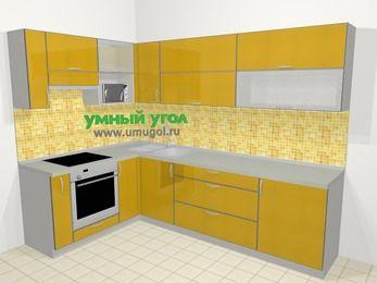 Кухни пластиковые угловые в современном стиле 7,2 м², 170 на 270 см, Желтый глянец, верхние модули 72 см, верхний модуль под свч, встроенный духовой шкаф