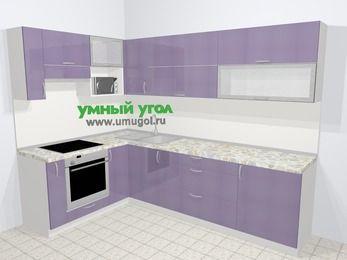 Кухни пластиковые угловые в современном стиле 7,2 м², 170 на 270 см, Сиреневый глянец, верхние модули 72 см, верхний модуль под свч, встроенный духовой шкаф