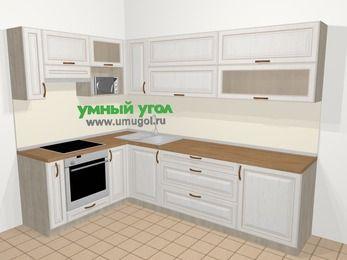 Угловая кухня МДФ патина в классическом стиле 7,2 м², 170 на 270 см, Лиственница белая, верхние модули 72 см, верхний модуль под свч, встроенный духовой шкаф