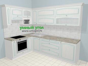 Угловая кухня МДФ патина в стиле прованс 7,2 м², 170 на 270 см, Лиственница белая, верхние модули 72 см, верхний модуль под свч, встроенный духовой шкаф
