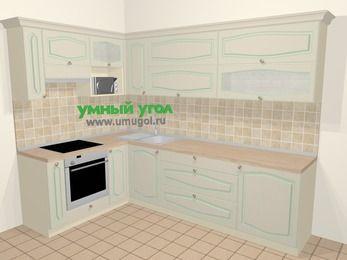 Угловая кухня МДФ патина в стиле прованс 7,2 м², 170 на 270 см, Керамик, верхние модули 72 см, верхний модуль под свч, встроенный духовой шкаф