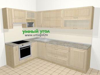 Угловая кухня из массива дерева в классическом стиле 7,2 м², 170 на 270 см, Светло-коричневые оттенки, верхние модули 72 см, верхний модуль под свч, встроенный духовой шкаф
